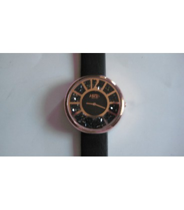 Reloj Micro sra correa negra caja dorada - 237064