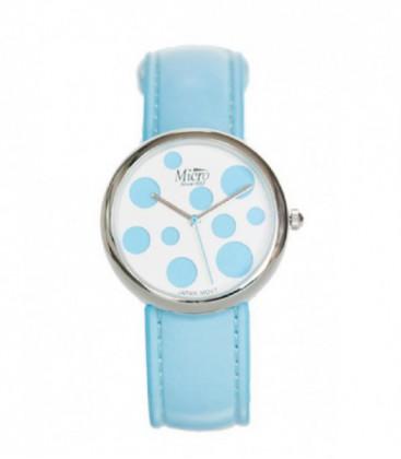 RelojMicro señora Caja Cromada esfera azul lunares. - 237039
