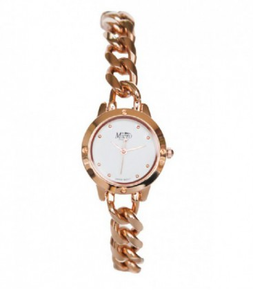 Reloj Micro señora cadena doble color oro rosa. - 237052